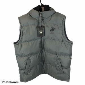 Men's Brand new Grey Hooded Puffer Vest XL